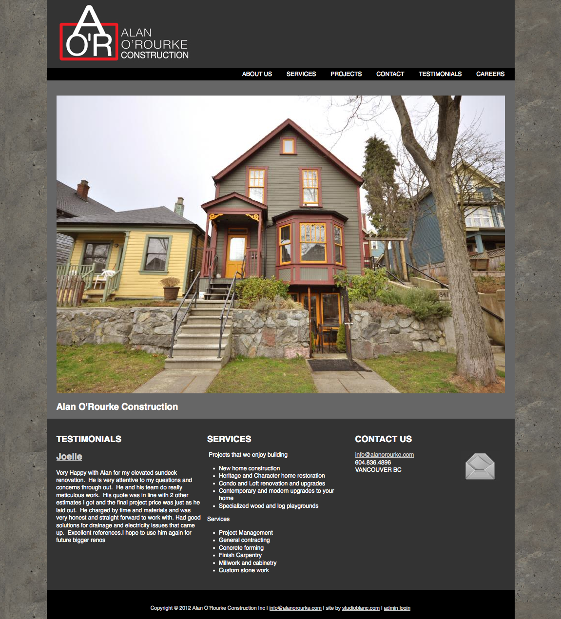 Alan O'Rourke Construction Inc. Web Site